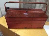 Small red metal tool box