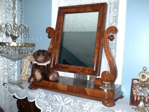 ANTIQUE MAHOGANY DRESSER MIRROR WITH FRAME - BEAUTIFUL