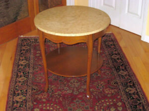 Queen Anne Style Vintage Marble Top Walnut Side / Accent Table