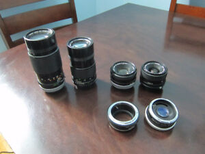 Four Canon FD Mount Prime Lenses w/ Fuji X Mount Adapter