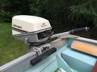 14 ft Aluminum Boat with 8 HP Johnson Outboard w. Trailer