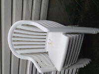 6 White Plastic Patio Chairs