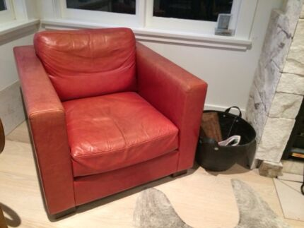 Red leather club chair  Avalon Pittwater Area Preview