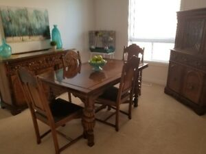 Solid Walnut Antique Dining Room Set