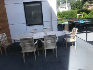 7 piece Wicker Emporium patio set for only $500. Solid teak wood