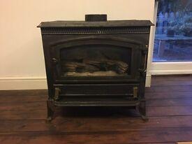 Dual fuel gas/coal stove fire