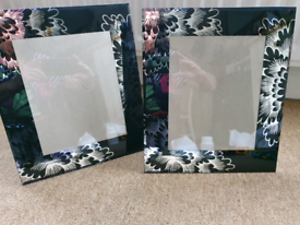 """REDUCED Glass photo frames. 10 x 8"""" with 2"""" surrounding border."""