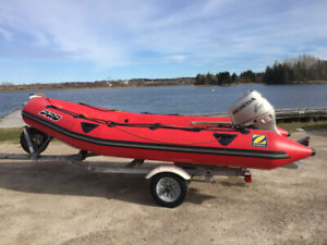 16 ft Zodiac Pro Inflatable Boat 50 hp Honda Outboard & Trailer