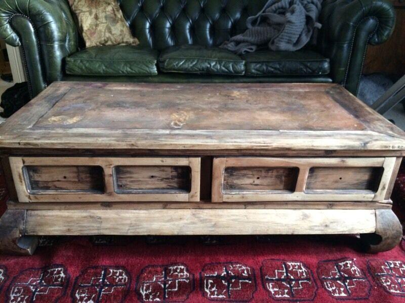 vintage industrial wood and distressed steel coffee table