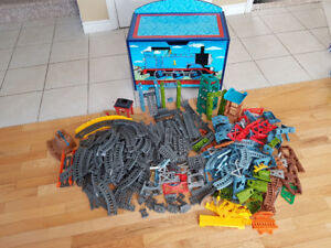 Lot of Thomas the Train trackmaster 2 trains, tracks and storage