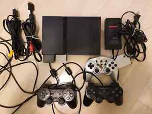PS2 PlayStation 2 Slim + 3 Controllers + Memory Cards + Games