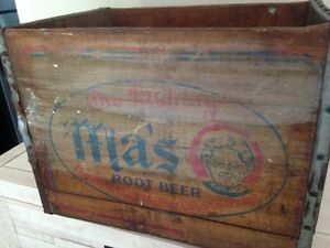 Rare antique Ma's root beer bottle soda wood crate box