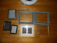 8 Wood Frames with glass backing 8 x 10 and 5 x 7 Various Finish