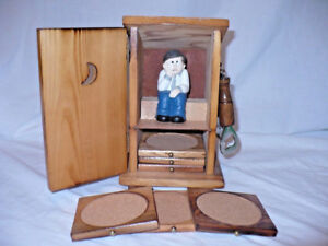 Wood Out House Toilet Crapper Coasters Bar Set