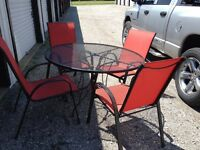 Patio set with slingback chairs. Bought chairs new last year