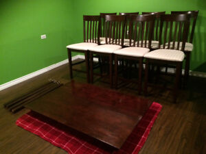 Pub Style Table + 8 Chairs