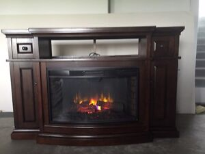 Large Realistic electric fireplace mantle with heater