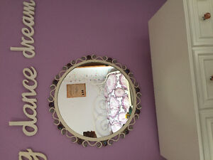 large round mirror, matching curtain rod, finials and tie backs
