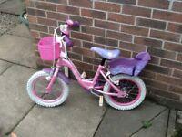"""Olivia Girls kids bike 14"""" with stabilisers"""