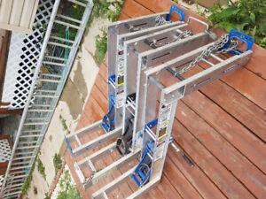 Pump jack and plank scaffolding