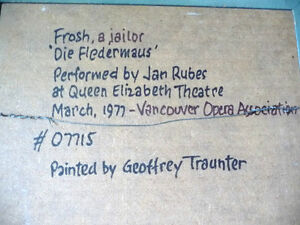 "Opera, Original Oil by Geoffrey Traunter ""Die Fledermaus"", 1977 Stratford Kitchener Area image 4"