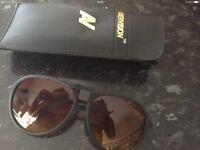Aviator yellow lenses sunglasses with case