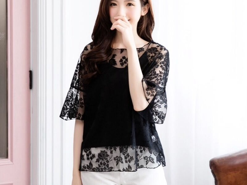 Brand New Black Lace Two Piece Mid Sleeve Top