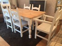 Gorgeous 5ft Shabby Chic Chunky Farmhouse Pine Table And 6 Lovely Chairs Inc Two Carvers