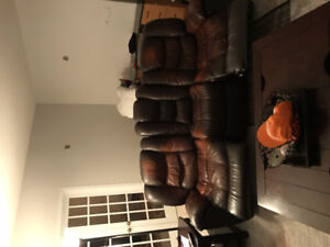 Leather recliner full size couch