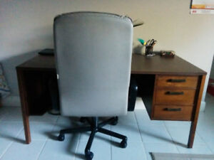 ONE TIME DEAL! - STURDY, REAL WOOD DESK & LEATHER CHAIR!