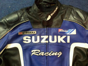 Full leather replica suzuki gsxr racing jacket