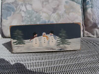 CHRISTMAS CARD BOX WOODEN HAND PAINTED SNOWMEN