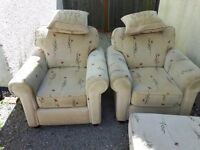 Two armchairs +footstool. Delivery