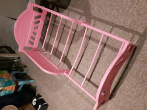 Toddler bed, pink, good/fair condition