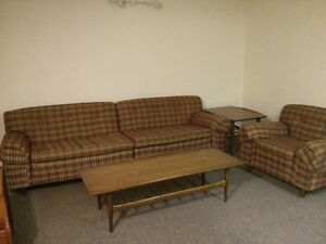 retro coffee and end tables, 2 piece couch, matching chair