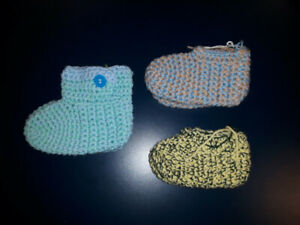 HANDMADE knitted booties $5 ea. or ALL 3 only $10! **gifts**