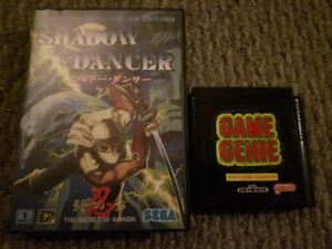 Shadow Dancer (Japanese version) and Game Genie for Genesis/MD