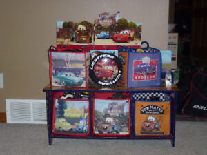 Cars Theme Toy Bench/Bucket toy holder/coat rack/clock
