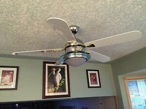Deluxe chrome and white ceiling fan Edmonton Edmonton Area image 1