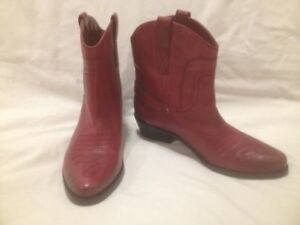 Ladies New Dk Red Leather FrancoSarto Western Style Short Boots