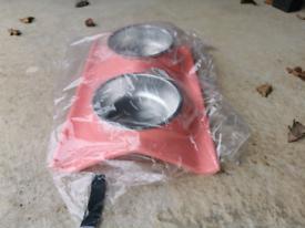 New unopened twin pet cat dog feeder