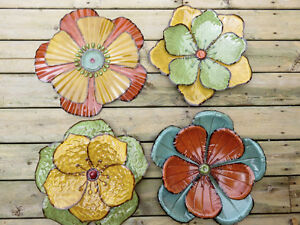 4 Metal Flowers Wall Garden Fence Decor Think Spring!