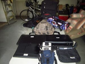 Carry on luggage, backpacks, gym bags, portfolios