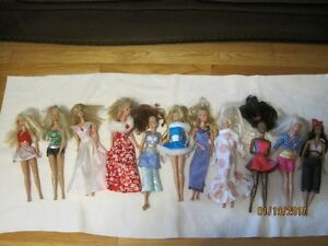 Barbie dolls, clothing, furniture, house, etc.