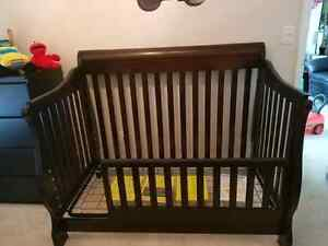 Shermag Preston Crib; Toddler Guard Rail; Mattress