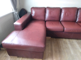 Real leather L shaped sofa In Brandy.Left hand.