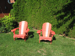 Two wooden muskoka chairs in veary good condition - $160.00 for