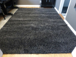 New Large Costco Black Grey Thick Shag Area Rug – 8'x10'