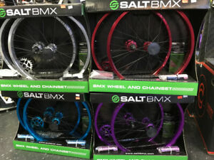 SALE New BMX wheel kits anodized w matching Chain, Ring, Pegs
