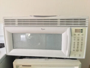 "whirlpool 30"" over the range white microwave fully functional"